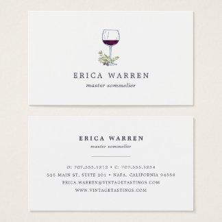 Cartão De Visitas Indústria do Sommelier ou de vinho do vidro de