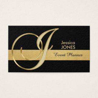Cartão De Visitas Inicial Monogrammed elegante na moda 'J do preto
