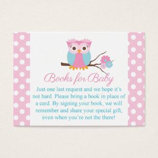 Cartão De Visitas Inserção cor-de-rosa do livro da Cartão-Coruja do