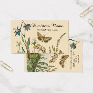 Cartão De Visitas Insetos do jardim do vintage, borboletas, lagartas