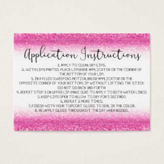 Cartão De Visitas Instruções cor-de-rosa da aplicação do brilho