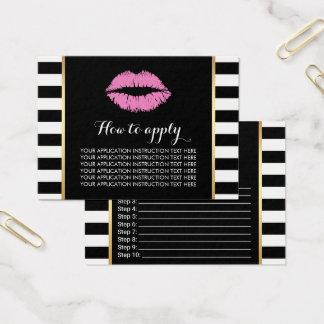 Cartão De Visitas Instruções cor-de-rosa da aplicação dos lábios do