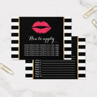 Cartão De Visitas Instruções vermelhas da aplicação dos lábios do