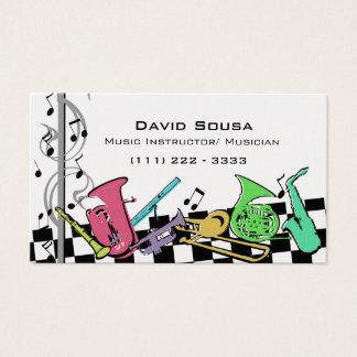 Cartão De Visitas Instrumentos musicais coloridos