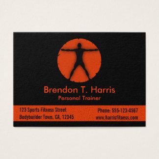 Cartão De Visitas Instrutor alaranjado e preto da loucura do corpo