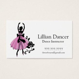 Cartão De Visitas Instrutor da dança. Ilustração cor-de-rosa