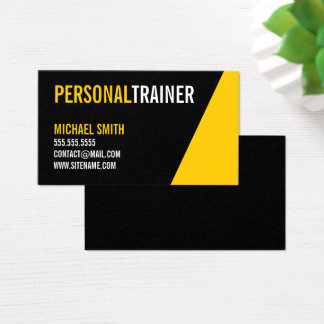 Cartão De Visitas Instrutor pessoal corajoso da cor preta e feita