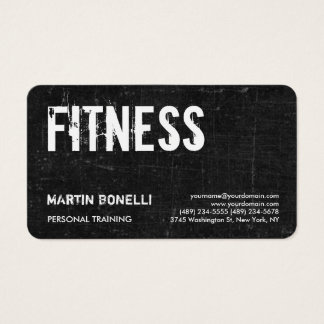 Cartão De Visitas Instrutor pessoal dinâmico cinzento preto retro