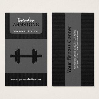 Cartão De Visitas Instrutor pessoal do Dumbbell preto e cinzento das