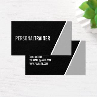 Cartão De Visitas Instrutor pessoal preto e branco corajoso
