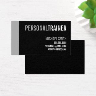 Cartão De Visitas Instrutor pessoal preto e cinzento corajoso