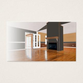 Cartão De Visitas Interior Home; Lareira, assoalhos de madeira,