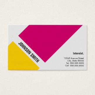 Cartão De Visitas Internist - amarelo cor-de-rosa simples