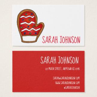 Cartão De Visitas Inverno vermelho do Natal do biscoito de açúcar do
