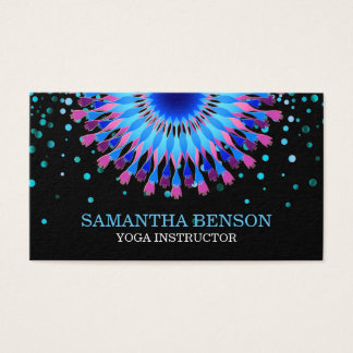 Cartão De Visitas Ioga elegante do logotipo da flor preta & branca