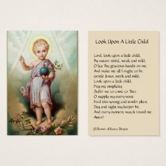 Cartão De Visitas Jesus infantil que guardara o mundo