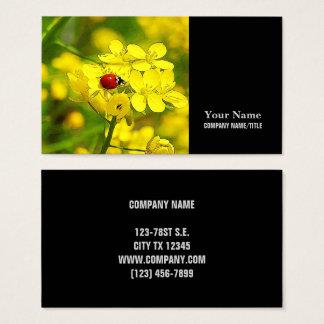 Cartão De Visitas Joaninha amarelo do vermelho da boa sorte da flor