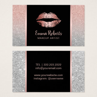 Cartão De Visitas Lábios chiques brilho cor-de-rosa do ouro do