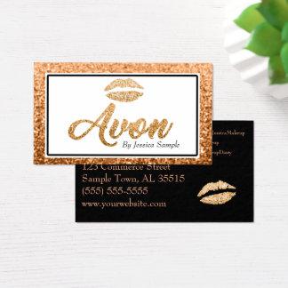 Cartão De Visitas Lábios cor-de-rosa da beleza do ouro de Avon