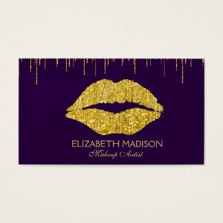 Cartão De Visitas Lábios do brilho do roxo e do maquilhador do ouro