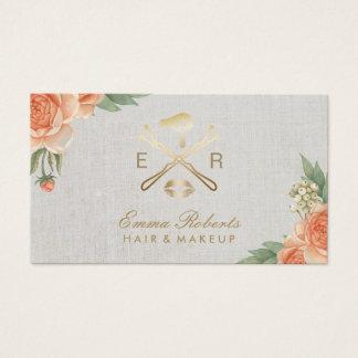Cartão De Visitas Lábios do ouro do maquilhador & vintage mais seco