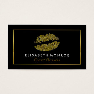Cartão De Visitas Lábios modernos do brilho do ouro, serviço de