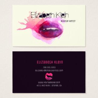 Cartão De Visitas Lábios nervosos da aguarela do maquilhador