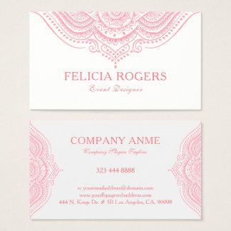 Cartão De Visitas Laço cor-de-rosa ornamentado elegante de Mandal