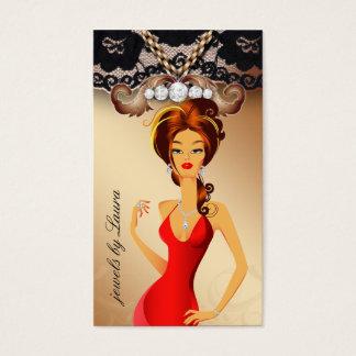 Cartão De Visitas Laço do ouro da mulher da jóia