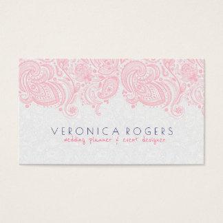 Cartão De Visitas Laço floral cor-de-rosa & branco da luz - de