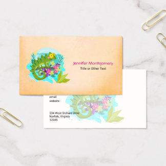 Cartão De Visitas Lagarto tropical com flores