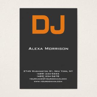 Cartão De Visitas Laranja cinzenta profissional moderna do DJ