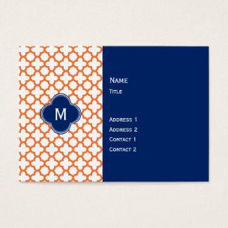 Cartão De Visitas Laranja e azuis marinhos Monogrammed Quatrefoil