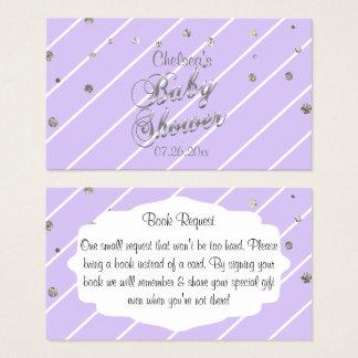 Cartão De Visitas Lavanda bonito e prata - pedido do livro