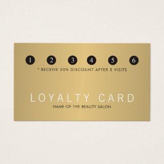 Cartão De Visitas Lealdade branca do salão de beleza do ouro