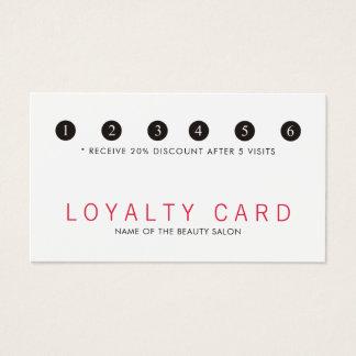Cartão De Visitas Lealdade branca vermelha elegante do salão de