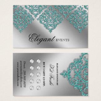 Cartão De Visitas Lealdade da cerceta da prata do damasco do