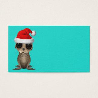 Cartão De Visitas Leão de mar do bebê que veste um chapéu do papai