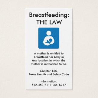 Cartão De Visitas Lei amamentando de Texas - 2