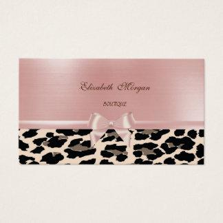 Cartão De Visitas Leopardo chique à moda elegante, arco cor-de-rosa