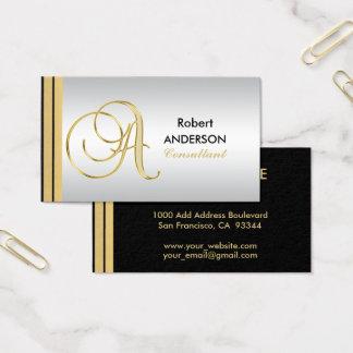 Cartão De Visitas Letra Monogrammed executiva 'A da prata do preto