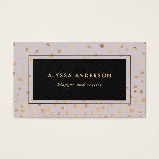 Cartão De Visitas Lilac com os pontos do olhar do ouro do falso