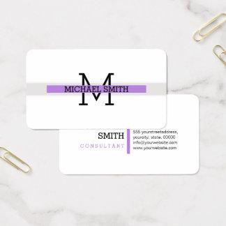 Cartão De Visitas Linha horizontal da lavanda moderna do monograma