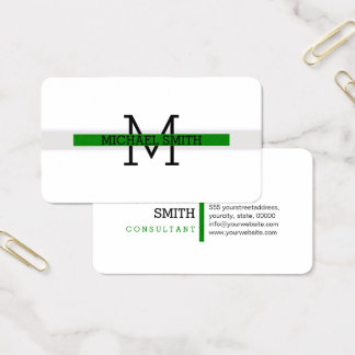 Cartão De Visitas Linha horizontal verde moderna do monograma