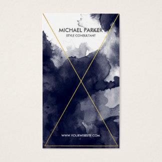 Cartão De Visitas Linha moderna arte da folha de ouro - aguarela dos