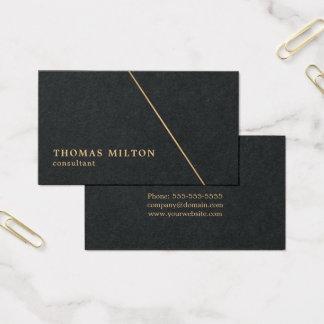 Cartão De Visitas Linha preta minimalista consultante do ouro do