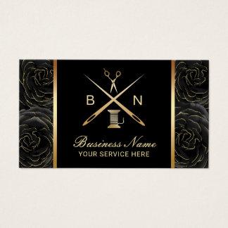 Cartão De Visitas Linha Sewing da costureira & floral preto das