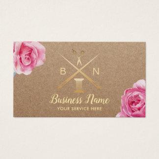 Cartão De Visitas Linha Sewing da costureira & floral rústico das