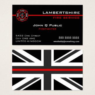 Cartão De Visitas Linha vermelha fina bandeira do Reino Unido