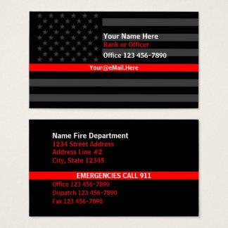 Cartão De Visitas Linha vermelha fina contato da bandeira americana